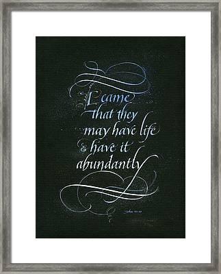 Life Abundant Framed Print by Judy Dodds