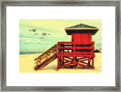 Framed Print featuring the photograph Life Guard Station by Gina Cormier