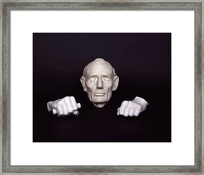Life Mask And Plaster Hands Of Abraham Framed Print by Everett