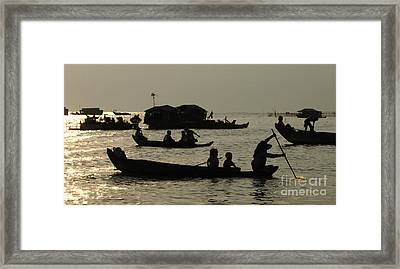 Life On Lake Tonel Sap Framed Print