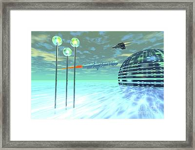 Life Under Domes On An Alien Waterworld Framed Print