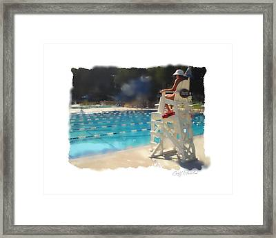 Lifeguard At Tosa Pool Framed Print by Geoff Strehlow