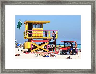 Lifeguard Hut Framed Print by Dieter  Lesche