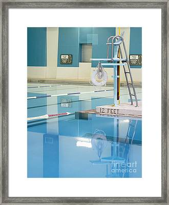 Lifeguard Stand And Pool Framed Print