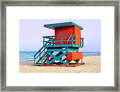 Lifeguard Tower Framed Print by Andres LaBrada