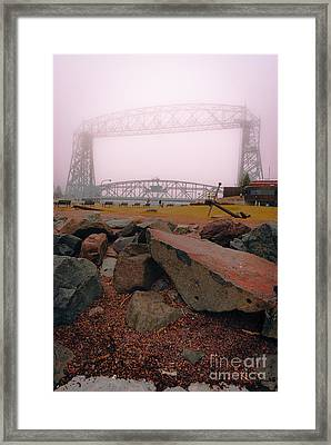 Lift Bridge In Spring Fog Framed Print