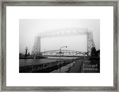 Lift Bridge Silver Fog Framed Print