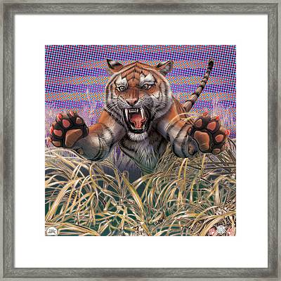 Liger  Aggression Framed Print by David Starr