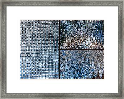 Light Blue And Brown Textural Abstract Framed Print