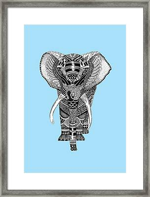 Light Blue Elephant Framed Print by JF Mondello