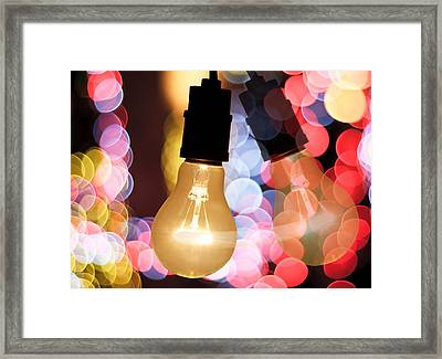 Light Bulb And Bokeh Framed Print