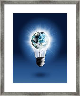 Light Bulb With Globe Framed Print by Setsiri Silapasuwanchai