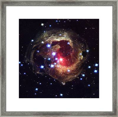 Light Echoes Around V838 Monocerotis Star Framed Print by Nasaesastscih.bond