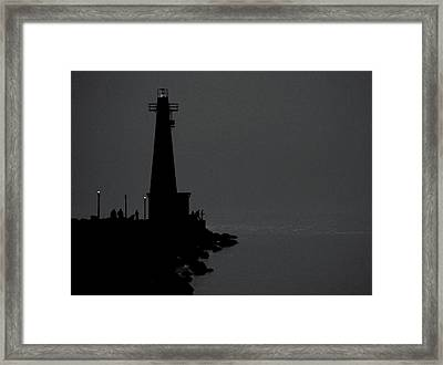 Light House At The Pier Arms In Muskegon Michigan Framed Print by Rosemarie Elizabeth Seppala