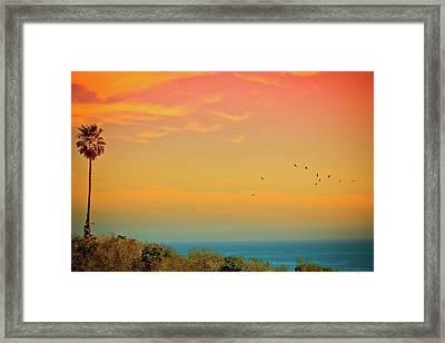 Light Of Sun Setting On  Malibu Beach Framed Print