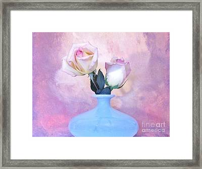 Light Pink Tipped Roses Framed Print by Marsha Heiken