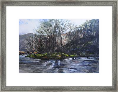 Light Through Trees At Aberglaslyn. Framed Print