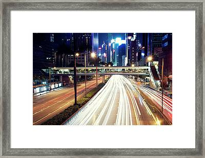 Light Trails At Traffic On Street At Night Framed Print by Thank you for choosing my work.