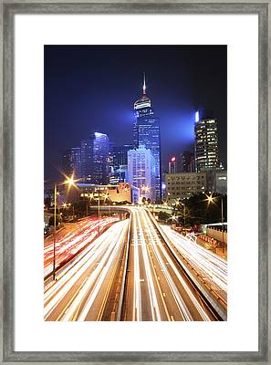 Light Trails On Road Framed Print by From John Chan, johnblog.phychembio.com