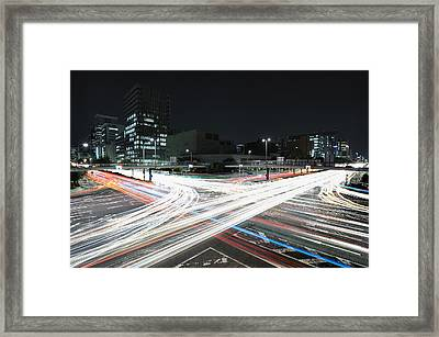 Light Trails On Road Framed Print by Photography by Shin.T