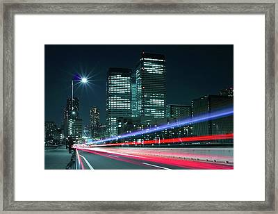Light Trails On The Street In Tokyo Framed Print