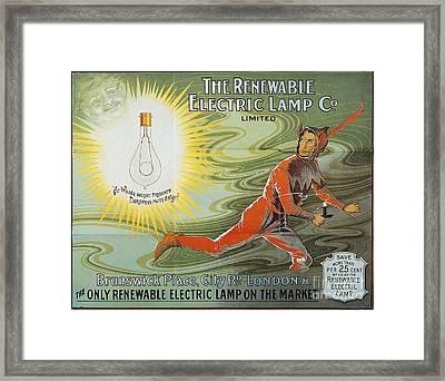 Lightbulb Ad, 1900 Framed Print by Granger