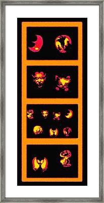 Lighted Jack-o-lanterns Tetraptych Framed Print by Steve Ohlsen