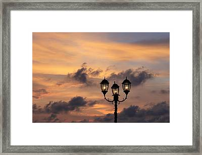 Lighted Sky Framed Print by Michael Green