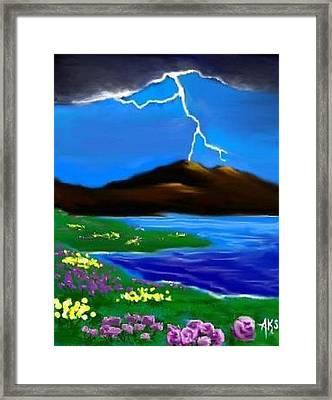 Framed Print featuring the digital art Lightening by Angela Stout