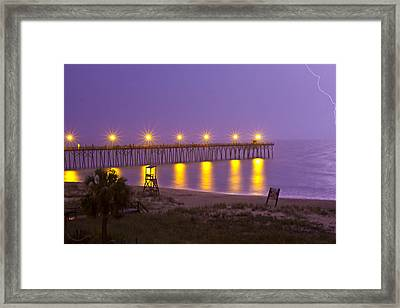 Lightening Strike At Kure Beach Framed Print by Betsy Knapp