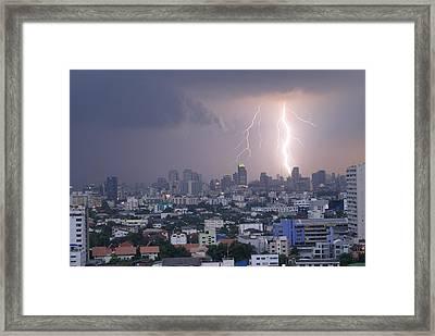Lightening Strikes Bangkok Framed Print by Gregory Smith