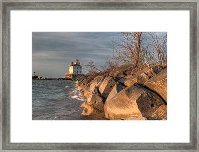 Lighthouse And Breakwall In Evening Light Framed Print by At Lands End Photography