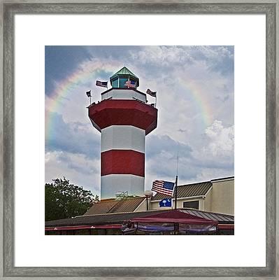 Lighthouse And Rainbow Framed Print