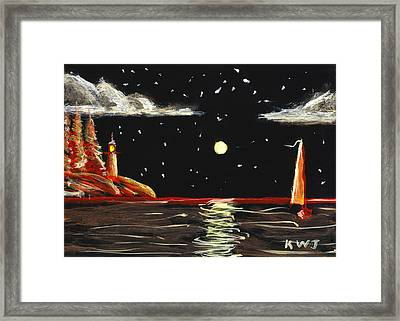 Lighthouse And Sailboat Painting Full Moon Art Framed Print by Keith Webber Jr