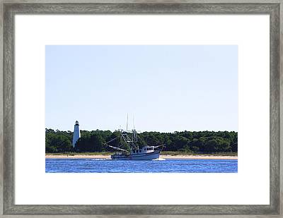 Lighthouse And Shrimp Boat Framed Print