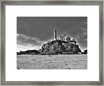 Lighthouse At Alcatraz-black And White Framed Print