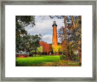 Lighthouse At Currituck Beach Framed Print by Nick Zelinsky