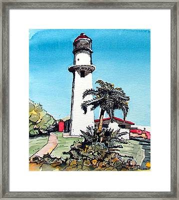 Framed Print featuring the painting Lighthouse At Diamond Head by Terry Banderas