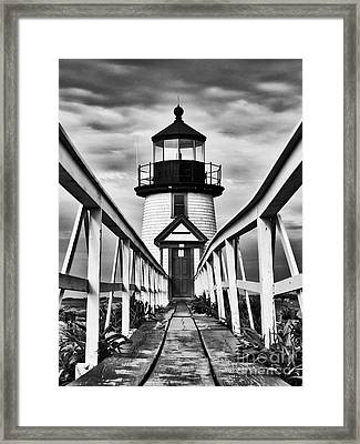 Lighthouse At Nantucket Island I - Black And White Framed Print by Hideaki Sakurai