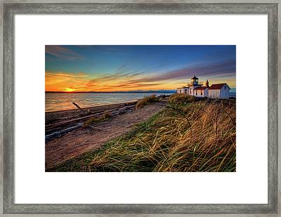 Lighthouse At Sunset Framed Print by Photo by David R irons Jr
