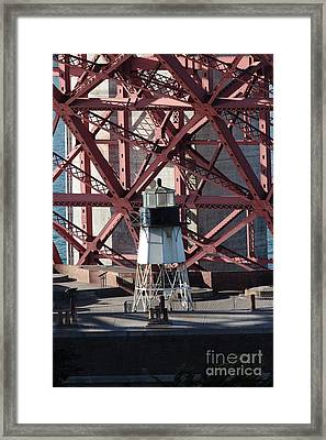Lighthouse Atop Fort Point Next To The San Francisco Golden Gate Bridge - 5d18999 Framed Print by Wingsdomain Art and Photography