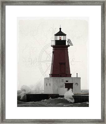 Lighthouse Compass Framed Print