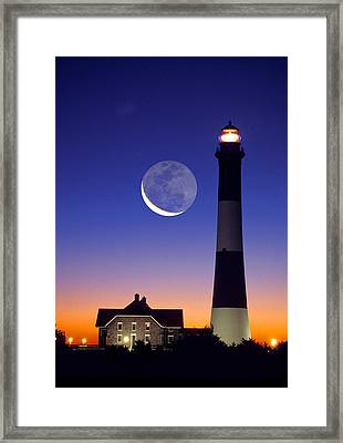 Lighthouse Crescent Moon Framed Print
