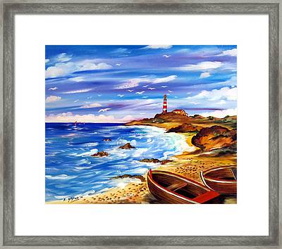 Framed Print featuring the painting Lighthouse Island by Roberto Gagliardi