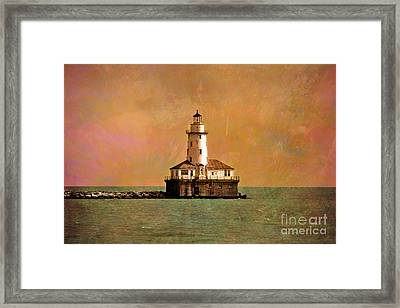 Lighthouse Off Navy Pier Framed Print by Mary Machare