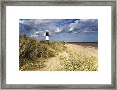 Lighthouse On Beach, Humberside, England Framed Print by John Short