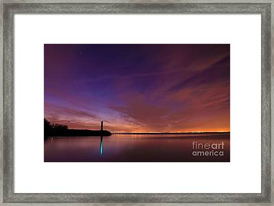 Lighthouse Under Starry Sky Framed Print