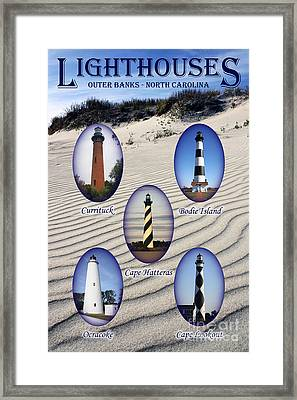 Framed Print featuring the photograph Lighthouses Of The Outer Banks by Tony Cooper