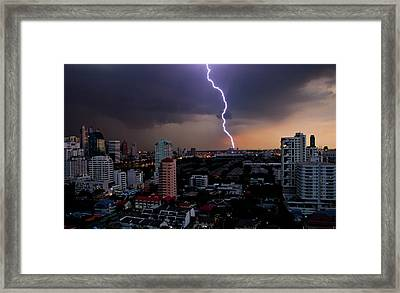 Lightning Framed Print by Adrian Callan Photography