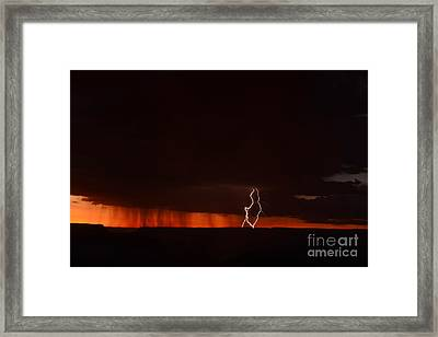 Lightning At The Grand Canyon Framed Print